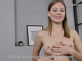 Shy nonprofessional jennifer lorentz shows her her virgin love tunnel on dedicate