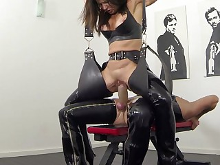 New squirting with an increment of pissing fro latex