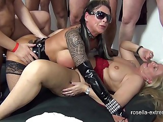 Four dominate milfs acquire extremely inseminated together with bareback fucked by 120 men with extreme sperm interchange alien cunt together with frowardness together with perverted sperm piss alien jessy in my mouth! Part 6