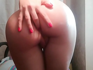 Anal masturbation with dildo and oil. Pussy masturbation.Big pest straponed