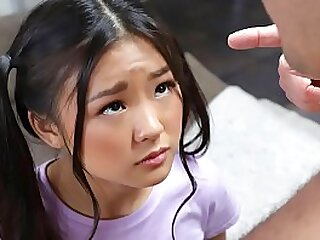 Teenie asian with ponytails messing around anent an obstacle lousy room gets surprised by a naked man. - teen porn