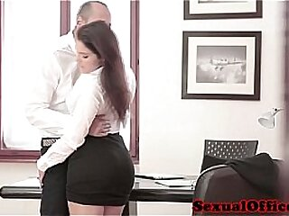 Beamy busty confidential conspirator fucked in along to office