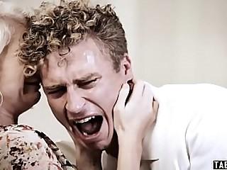 Huge titted stepmom puts stepson new girlfriend through a test