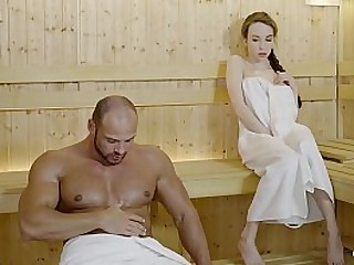 LETSDOEIT - Cute Babe in arms Fucks Hither A Lubricous Papa On tap Along to Sauna
